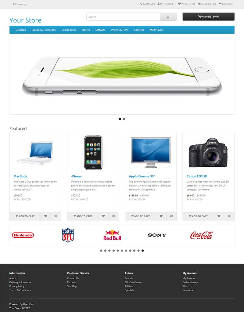用免费的OpenCart快速搭建符合亚马逊品牌备案要求的独立网站 购物按钮和结算功能齐全 32